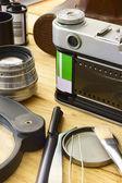 胶片相机及配件 — 图库照片