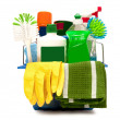 Stock Photo: Cleaning Supplies With Yellow Gloves