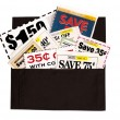 Dark Brown Cloth Wallet Full of Coupons — Photo