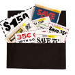 Dark Brown Cloth Wallet Full of Coupons — Foto de Stock