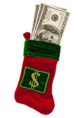 Money Stuffed in a Christmas Stocking — Stock Photo