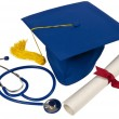 Stock Photo: Graduation Hat With Stethoscope and Diploma
