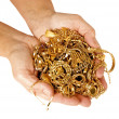 Stock Photo: Handful of Gold Ready to Sell For Cash
