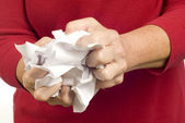 Rejecting Paperwork by Crumpling Up Paper — Stock Photo
