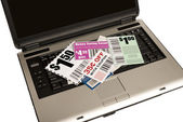 A Laptop With Coupons Represents Online Coupons XXXL — Stock Photo