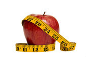 Big Red Apple With Measuring Tape XXXL — Stock Photo