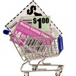 Stock Photo: Coupons in Shopping Cart XXXL