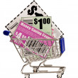 Coupons in Shopping Cart XXXL — Stock Photo