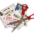 Many Coupons With Scissors XXXL — Stock Photo #21818959