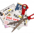 Stock Photo: Many Coupons With Scissors XXXL