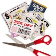 Stock Photo: Coupons With Scissors Vertical Shot XXXL