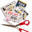 Coupons With Scissors Vertical Shot XXXL — Stock Photo