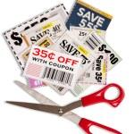Coupons With Scissors Vertical Shot XXXL — Stock Photo