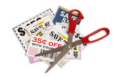 Many Coupons With Scissors XXXL — Stock Photo