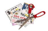 Many Coupons With Scissors XXXL — Stock Photo