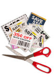 Coupons With Scissors Vertical Shot XXXL — Stok fotoğraf