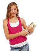 書籍と笑っている女の子 — ストック写真