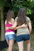Girlfriends Walking Together In Park — Stock Photo