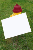Fire Hydrant With Blank Sign For Copy Space — Stock Photo