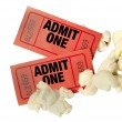 Stock Photo: Red Movie Tickets And Popcorn Close Up
