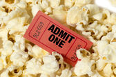 Popcorn With Red Ticket Close Up — Stock Photo