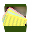Colorful Blank Index Cards In Box — Stock Photo