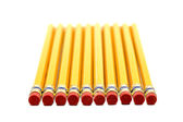 Row Of Pencils With Erasers In Front — Foto Stock