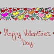 Hand-drawn Valentine's Day background with colorful love hearts - Stock Vector