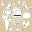 Vector set of hand-drawn scrap Valentines Day design elements - Stock Vector