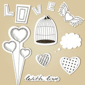Vector set of hand-drawn scrap Valentines Day design elements — Stock vektor