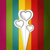 Vektorové kartu s barevné pozadí a šrot balónky ve tvaru srdce — Stock vektor