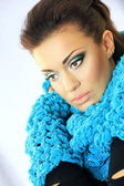 Girl with blue scarf — Stock Photo