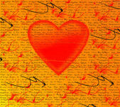 Heart with the inscriptions around — Stock Photo