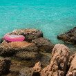Stock Photo: Life buoy near sea