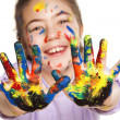 Happy little girl and colors - Stock Photo