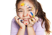 Happy little girl and colors — Stock Photo