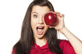 Girl, and red apple — Stock Photo