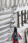 Wall with wrenches — Stock Photo