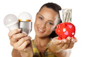 Saving money with LED — Stock Photo