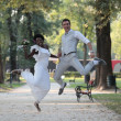 Stock Photo: Multiracial wedding couple
