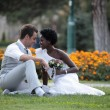 Multiracial wedding couple — Stock Photo #33503207