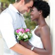 Multiracial wedding couple — Stock Photo #33503765