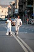 Multiracial wedding couple — Stock Photo