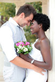 Multiracial wedding couple — Stock Photo