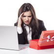 Disappointed woman with a gift — Stock Photo #50374109