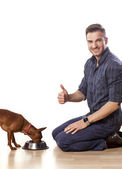 Man and a dog — Stock Photo