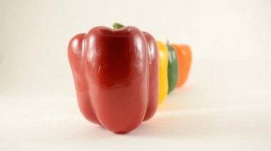 Red, Yellow, Green and Orange Peppers Against White - Line Arrangement - Dolly Left — Stock Video