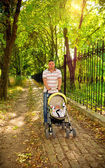 Young father walking with a small child — Stock Photo