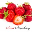 Stock Photo: A handful of ripe strawberries