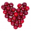 A lot of ripe cherries heart shaped  — Stock Photo